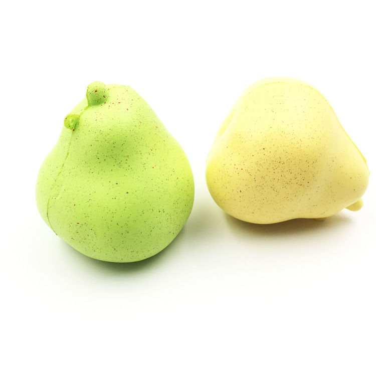 High Quality Soft Slow Rising Mini Fruit Pear Keychain Kids Squishy Toys With Good Smell