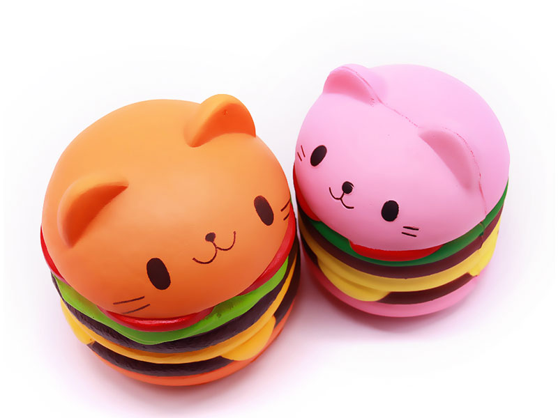 FL-NA Burger cat Squishy PU Slow Rising Squishies Toy